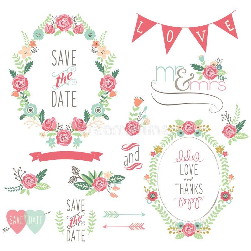 Casamento Rose Wreath Elements ilustração stock