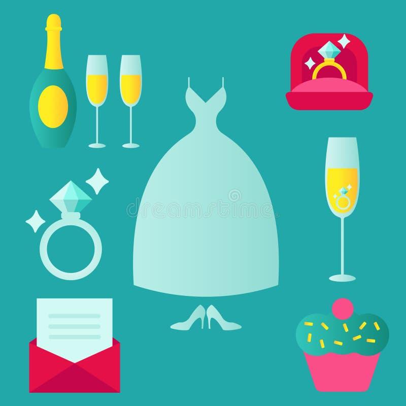 Casamento, união, acoplamento, grupo nupcial do ícone do vetor da cor Dia do Valentim Amor, anel na caixa, sobremesa, convite ilustração stock