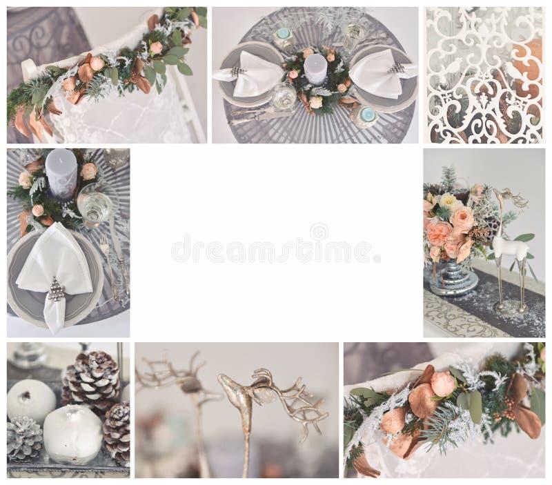 casandose el collage bajo la forma de marco de fotos de casarse la decoración, temas florísticos de las composiciones, del invier imagen de archivo