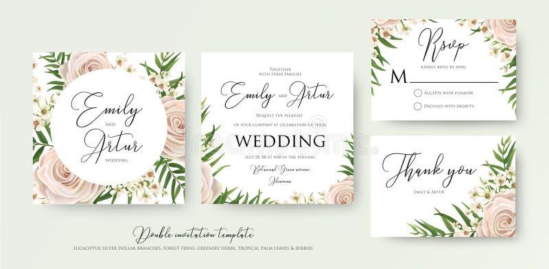 Casandose el doble floral del estilo de la acuarela invite, rsvp, gracias c stock de ilustración
