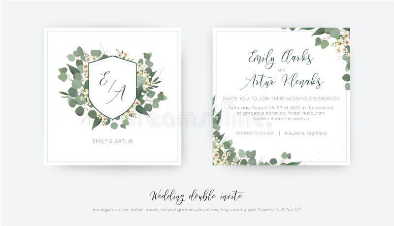 Casandose el doble invite, invitación, ahorran el diseño floral de la tarjeta de fecha Monograma elegante con verdor del eucalipt ilustración del vector