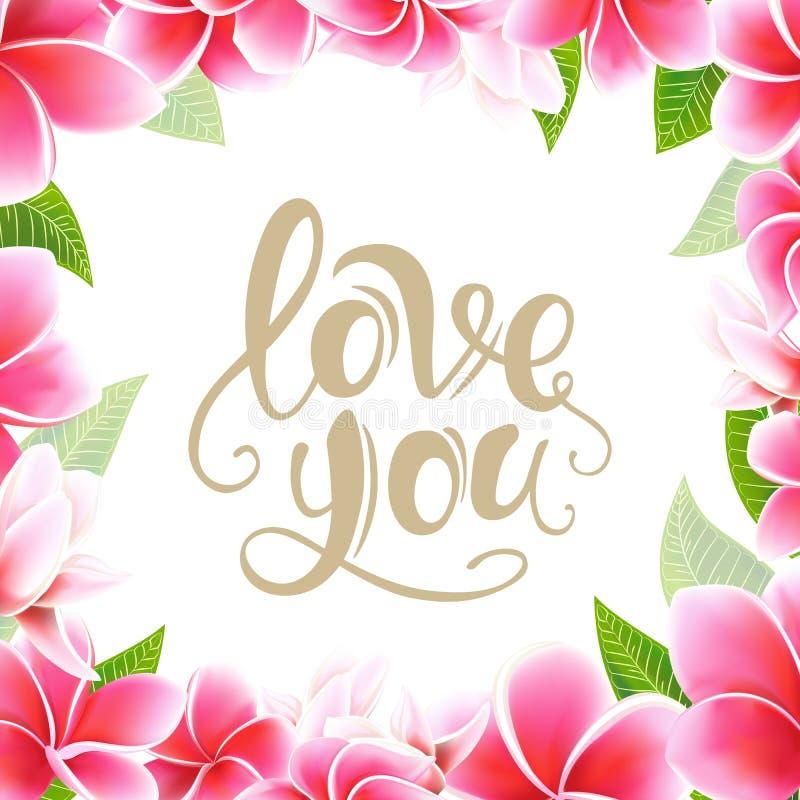 Casandose el marco y poner letras florales del plumeria de la tarjeta de la invitaci?n a la plantilla de la postal foto de archivo