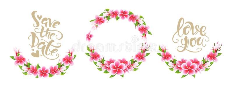 Casandose el ramo floral y poner letras del Plumeria del rosa de la tarjeta de la invitación al sistema fotos de archivo libres de regalías