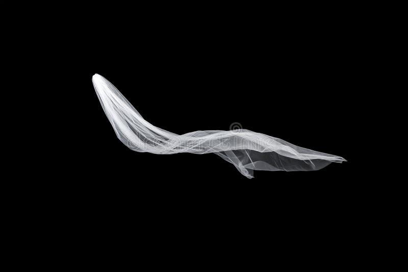 Casandose el velo nupcial blanco aislado en fondo negro el velo agita en el viento fotografía de archivo