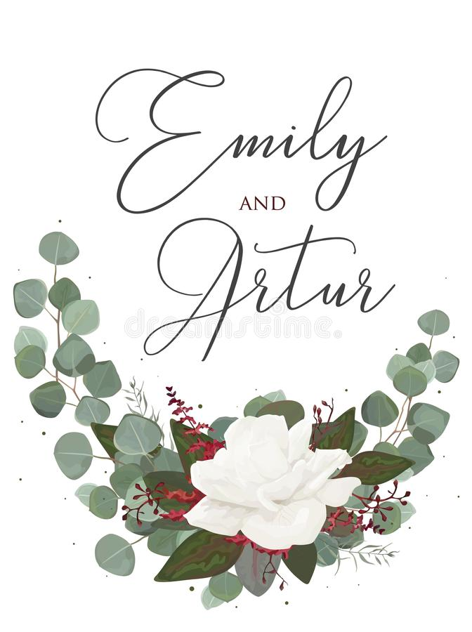 Casandose estilo floral de la acuarela invite, ahorre a la tarjeta de fecha Desig libre illustration