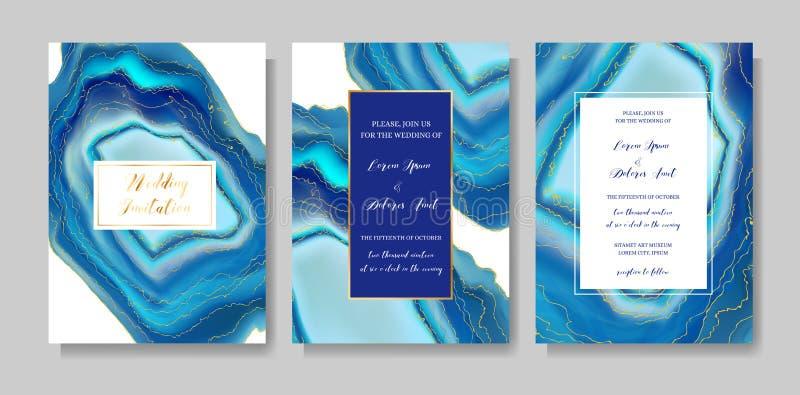 Casandose geoda de la moda o la plantilla del mármol, las cubiertas artísticas diseñan, los fondos realistas de la textura colori stock de ilustración