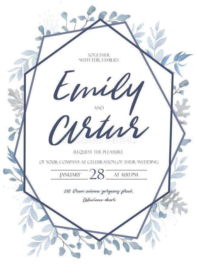 Casandose invite, invitación, ahorran el diseño de tarjeta de fecha con la luz stock de ilustración