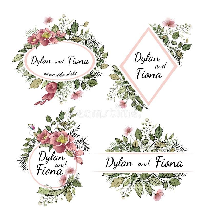 Casandose invite, menú de la invitación le agradecen cardar vector que el verdor floral diseña ilustración del vector