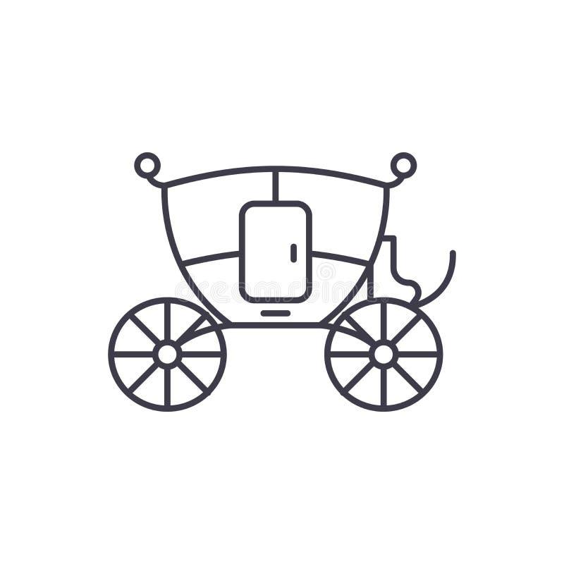 Casandose la línea concepto del carro del icono Casarse el ejemplo linear del vector del carro, símbolo, muestra ilustración del vector