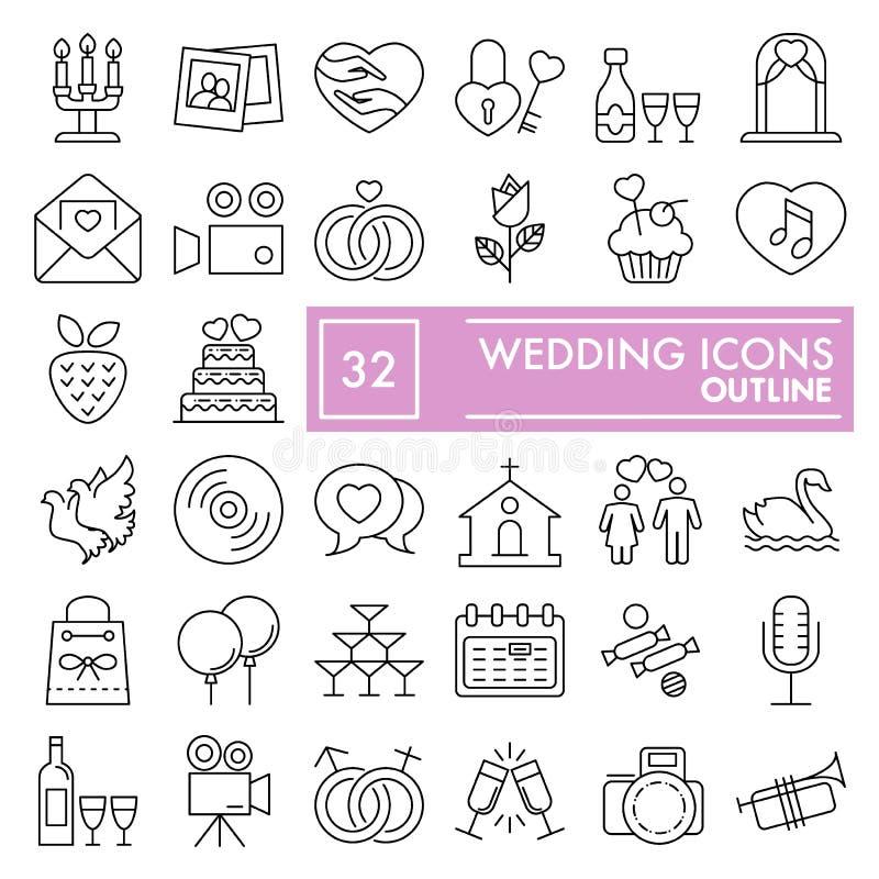 Casandose la línea fina sistema del icono, los símbolos colección, bosquejos del vector, ejemplos del logotipo, celebración del a ilustración del vector