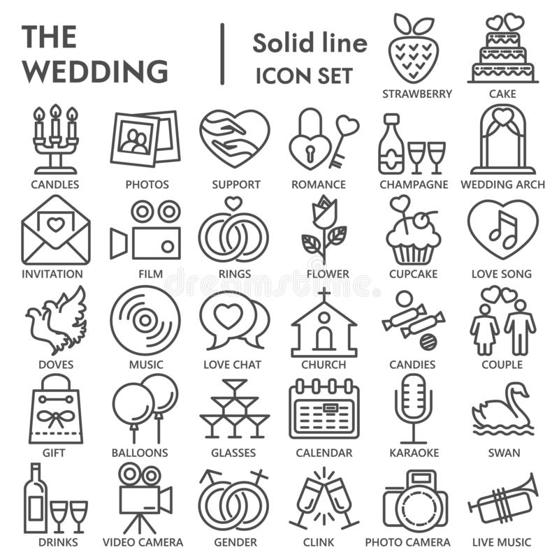 Casandose la línea sistema FIRMADO del icono, símbolos colección, bosquejos del vector, ejemplos del logotipo, muestras del amor  libre illustration