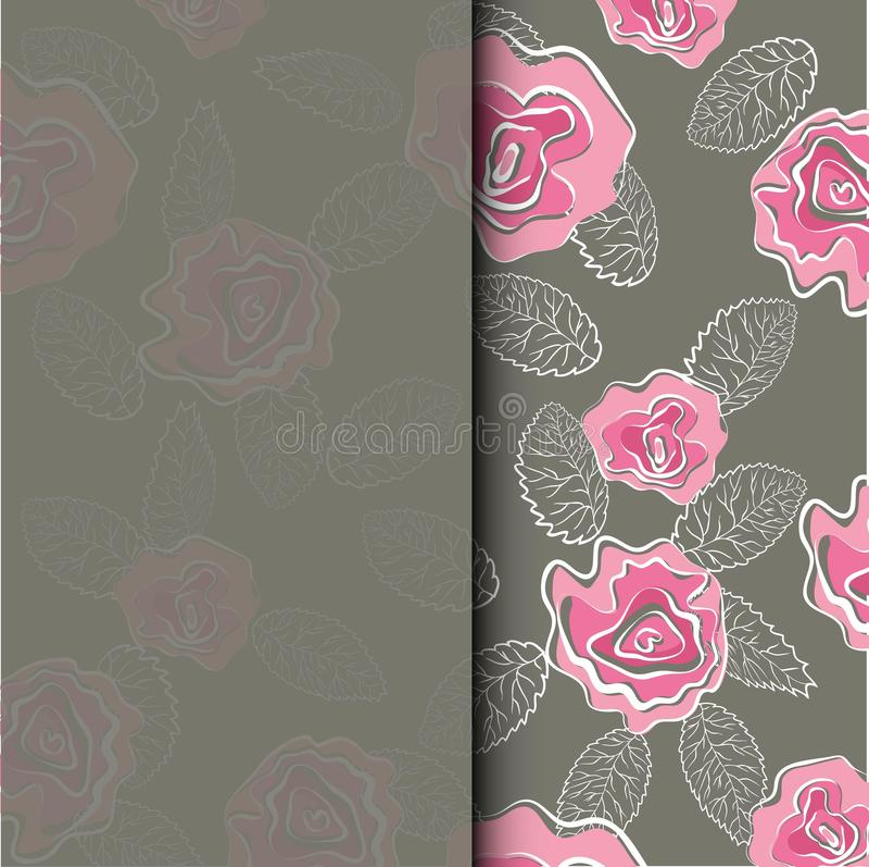 Casandose la tarjeta de la invitación con las rosas rosadas florezca en la plantilla del fondo Sistema del vector de los elemento ilustración del vector