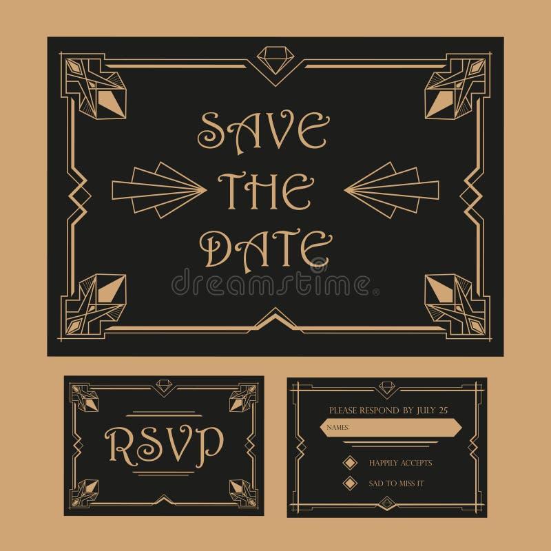 Casandose reserva la fecha y la tarjeta de RSVP - Art Deco ilustración del vector