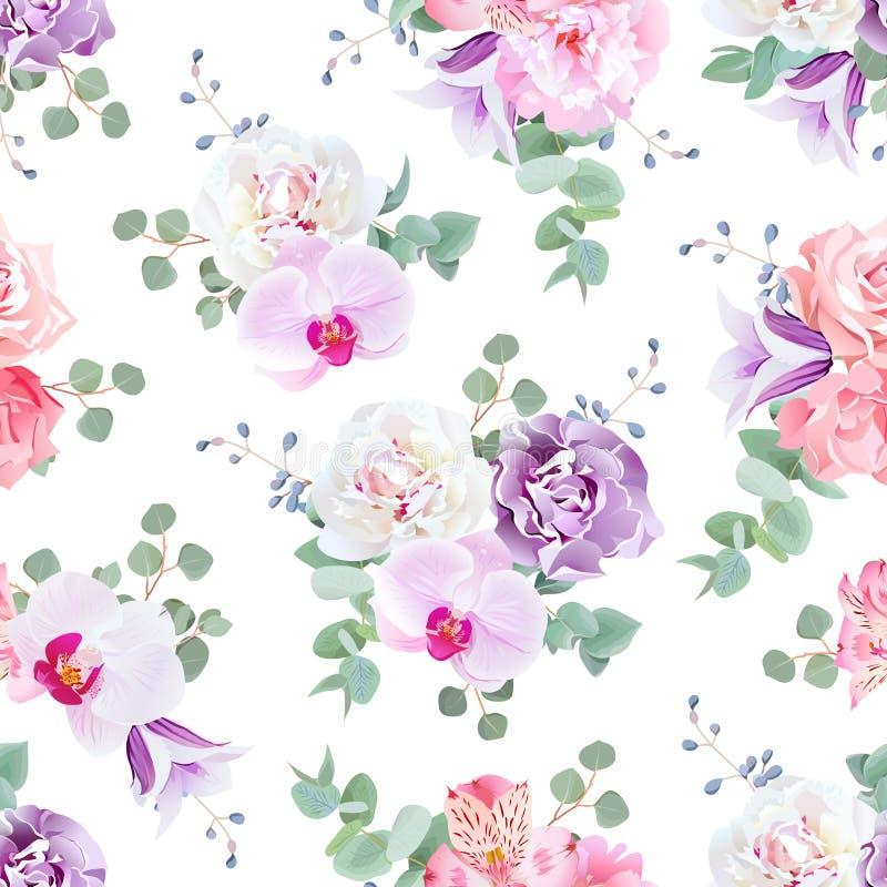 Casandose vector inconsútil delicado imprima en tonos púrpuras, rosados y blancos stock de ilustración