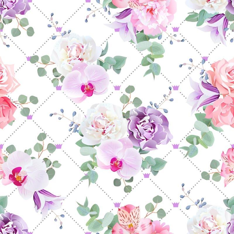 Casandose vector inconsútil delicado imprima en tonos púrpuras, rosados y blancos libre illustration