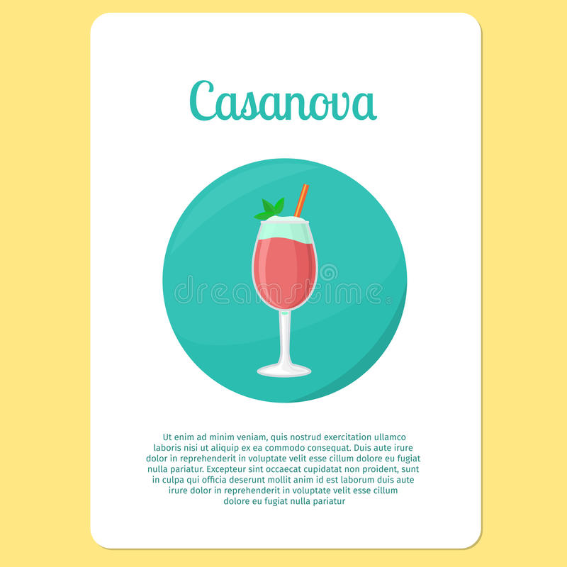 Casanova cocktail drink in circle icon. Casanova cocktail menu item or sticker.Party drink in circle icon. Vector illustration royalty free illustration