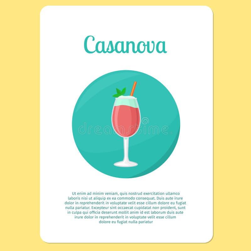 Casanova-cocktaildrank in cirkelpictogram royalty-vrije illustratie