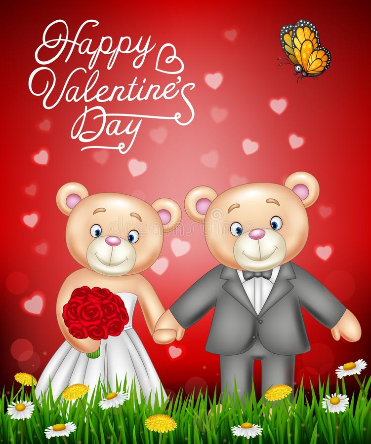 Casar-se dos ursos de peluche dos noivos ilustração do vetor