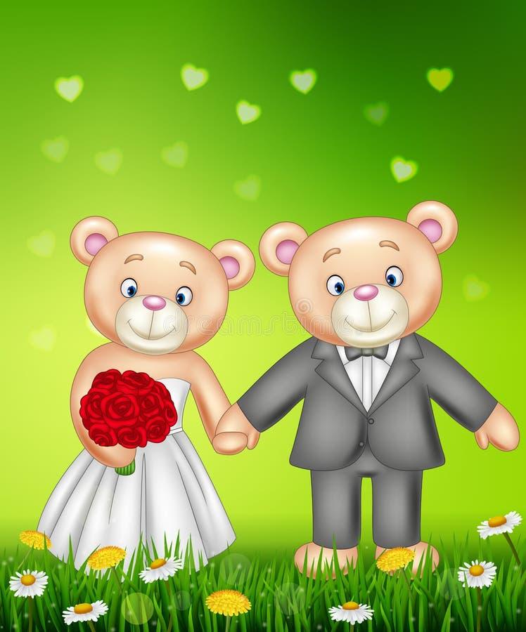 Casar-se dos ursos de peluche dos noivos ilustração royalty free