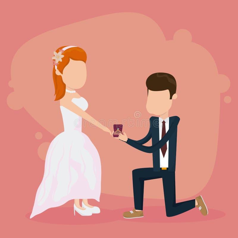 Casarse apenas la tarjeta casada ilustración del vector