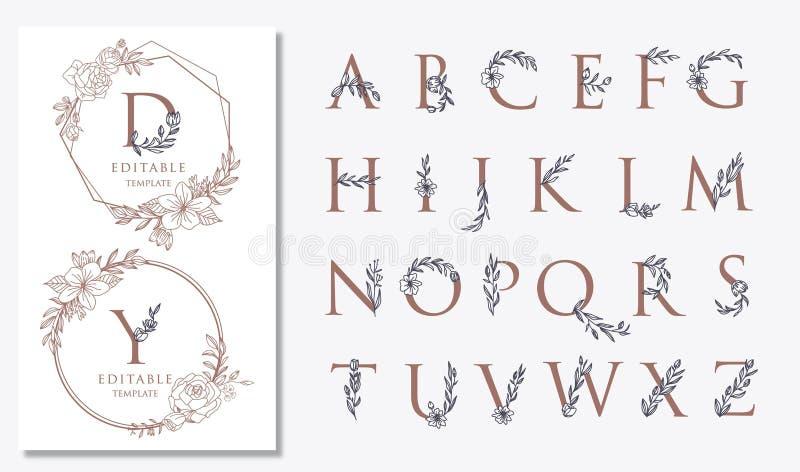 casarse diseños del logotipo con adornos florales stock de ilustración