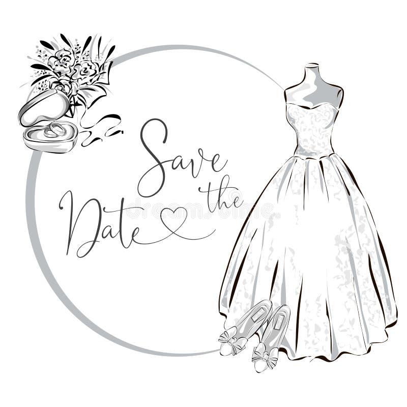 Casarse el clipart fijó con el vestido de boda, las flores y los anillos de bodas, la tarjeta de felicitación blanco y negro de l ilustración del vector