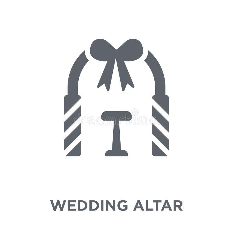 casarse el icono del altar de la colección de la boda y del amor libre illustration