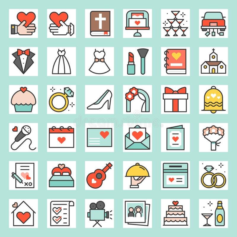 Casarse el icono llenado relacionado del esquema libre illustration
