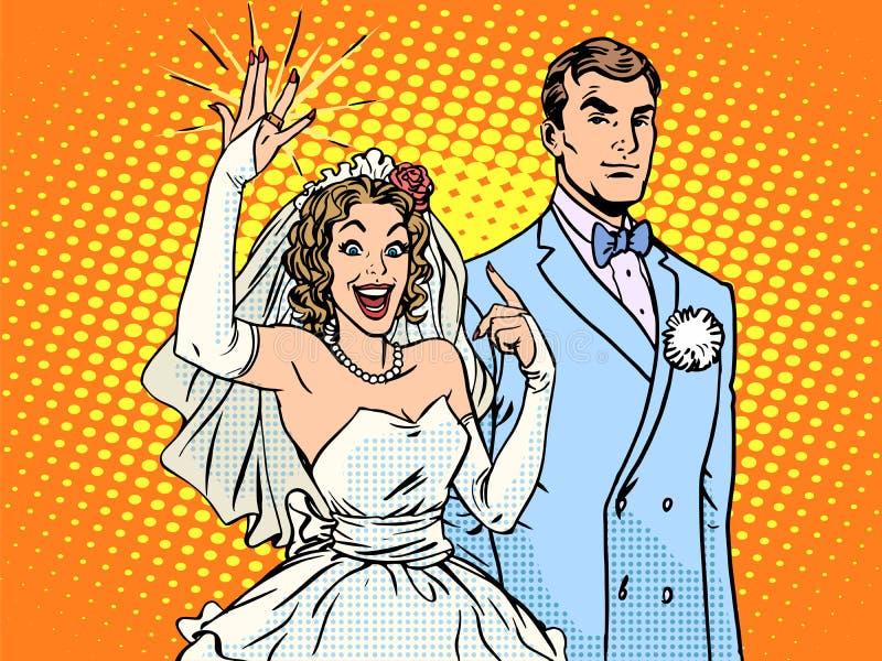 Casarse el novio y a la novia feliz ilustración del vector
