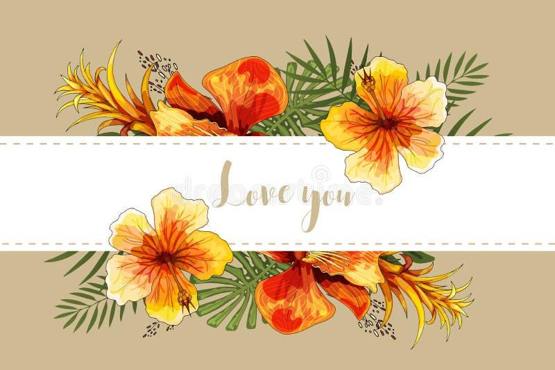 Casarse el ramo y las letras florales tropicales de la orquídea de la tarjeta de la invitación foto de archivo