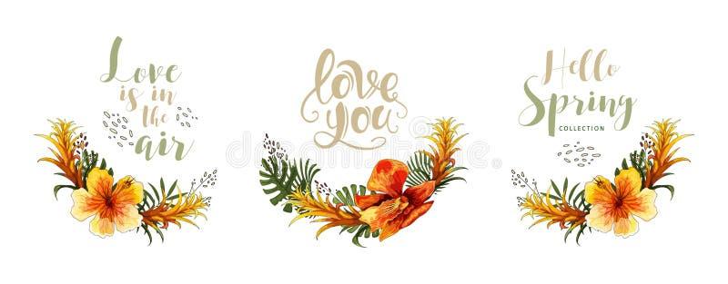 Casarse el ramo y las letras florales tropicales de la orquídea de la tarjeta de la invitación imagenes de archivo