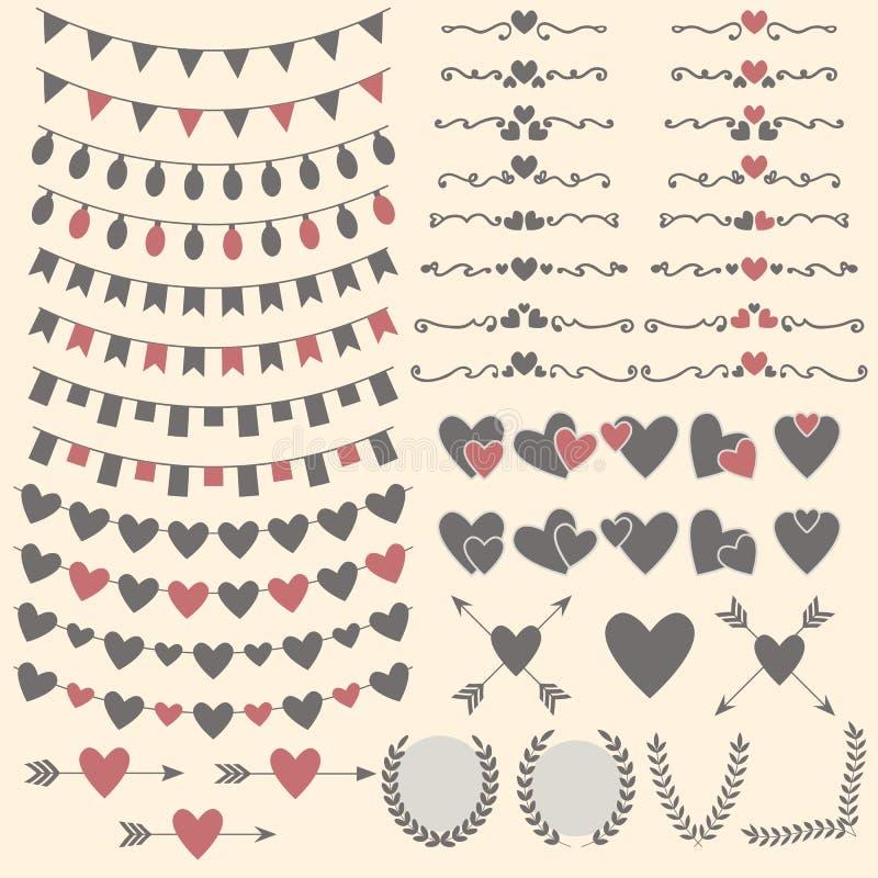 Casarse el sistema de corazones, de flechas, de guirnaldas, del laurel, de guirnaldas y del laboratorio libre illustration
