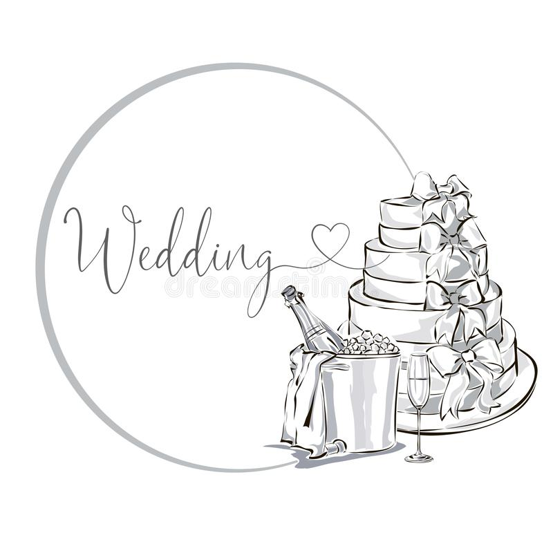 Casarse el sistema del clip art con la botella del champán en cubo de hielo, copa de vino y pastel de bodas, invitación de boda b ilustración del vector
