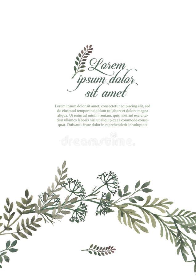 Casarse el sistema del marco de la invitación, hojas, acuarela, aislada en blanco Guirnalda bosquejada de la guirnalda, floral y  ilustración del vector