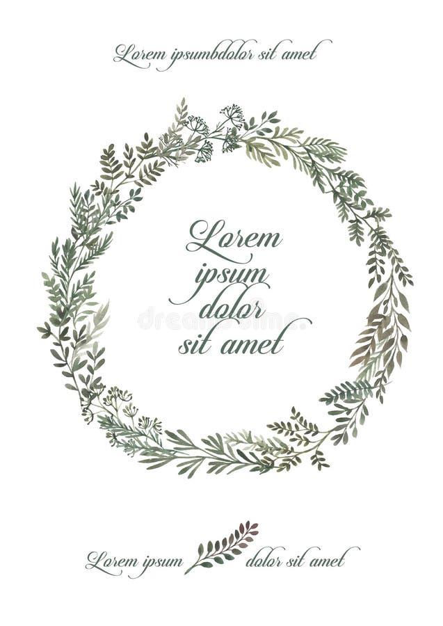 Casarse el sistema del marco de la invitación, hojas, acuarela, aislada en blanco Guirnalda bosquejada de la guirnalda, floral y  stock de ilustración
