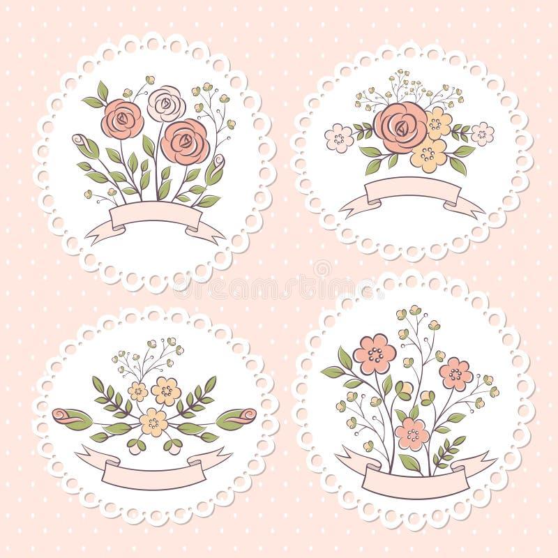 Casarse el sistema floral del gráfico ilustración del vector