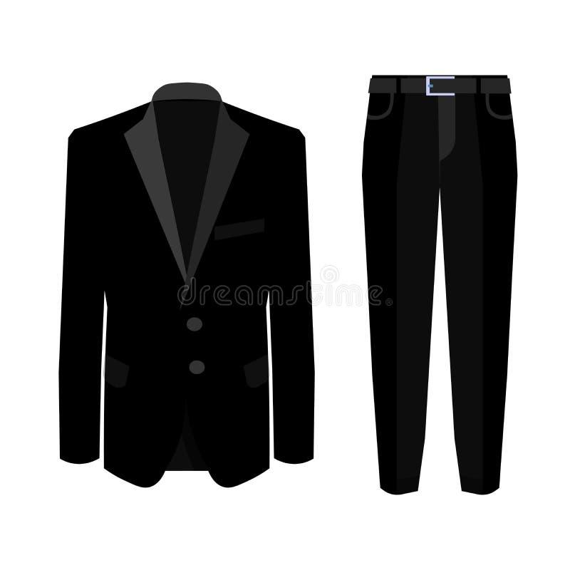 Casarse el traje de los hombres negros s con el smoking colección Ilustración del vector ilustración del vector