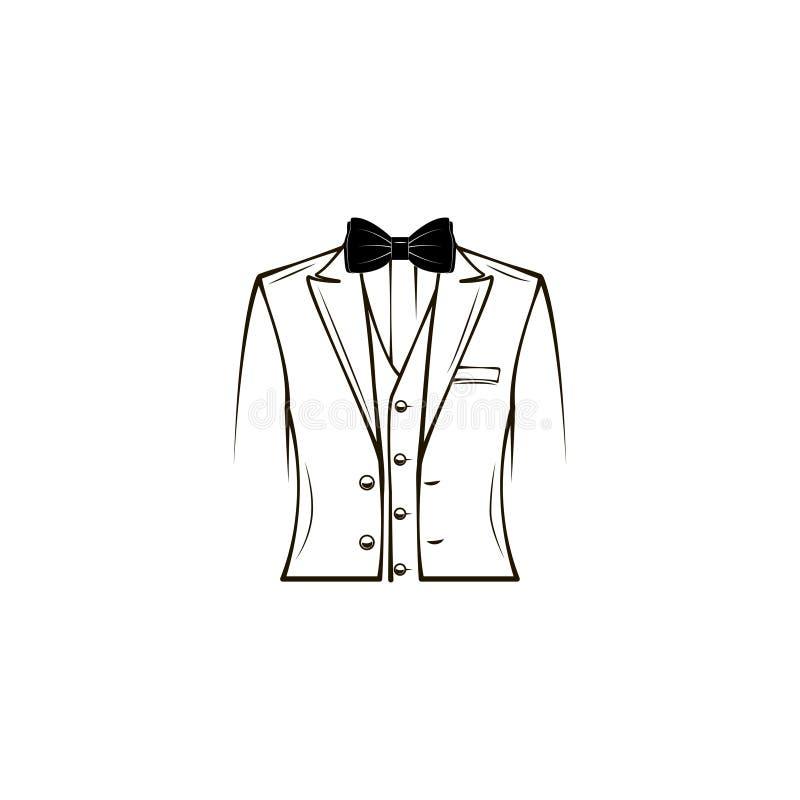 Casarse el traje para hombre, smoking, traje elegante Corbata de lazo prepare Diseño de la tarjeta de felicitación del día de pad stock de ilustración