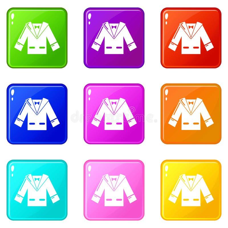 Casarse iconos del traje del novio fijó la colección de 9 colores libre illustration