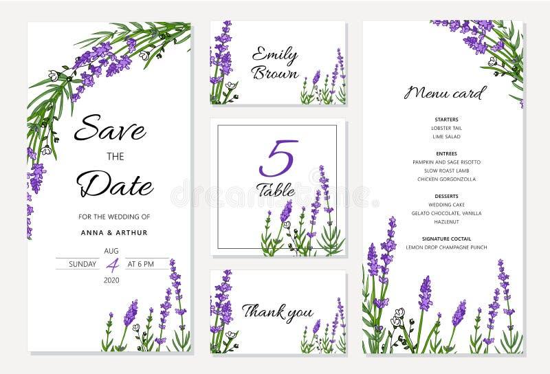 Casarse la invitación floral fijó el withlavender La tarjeta del menú, ahorra las tarjetas de la fecha y de la tabla, disposición stock de ilustración