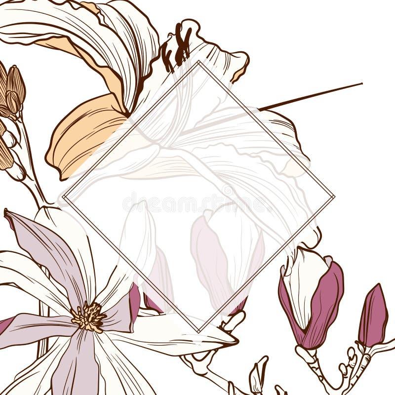 Casarse la invitación, floral invita le agradece, diseño de tarjeta moderno del rsvp con la línea marrón simple lirios libre illustration