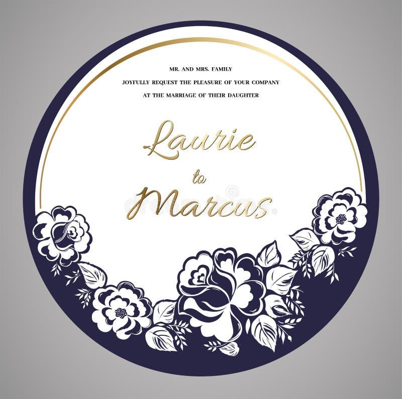 Casarse la invitación floral Plantilla para el corte del laser Ilustración del vector libre illustration