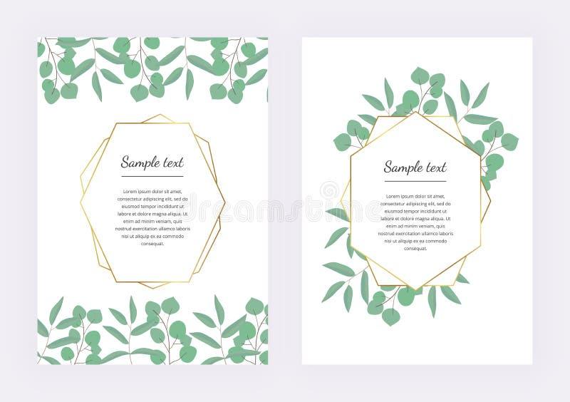 Casarse la invitación, marco geométrico poligonal, líneas de oro con el eucalipto de las hojas en la textura de mármol Templat bo stock de ilustración