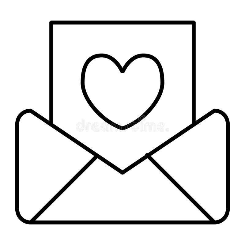 Casarse la línea fina icono de la invitación Ejemplo del vector de la letra aislado en blanco Diseño del estilo del esquema del s stock de ilustración