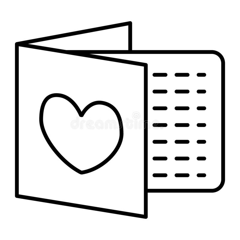 Casarse la línea fina icono de la invitación Letra con el ejemplo del vector del corazón aislado en blanco Diseño del estilo del  libre illustration