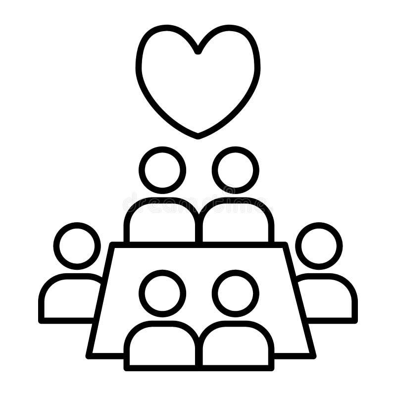 Casarse la línea fina icono del banquete Ejemplo del vector de Tableful aislado en blanco Gente alrededor del estilo del esquema  libre illustration