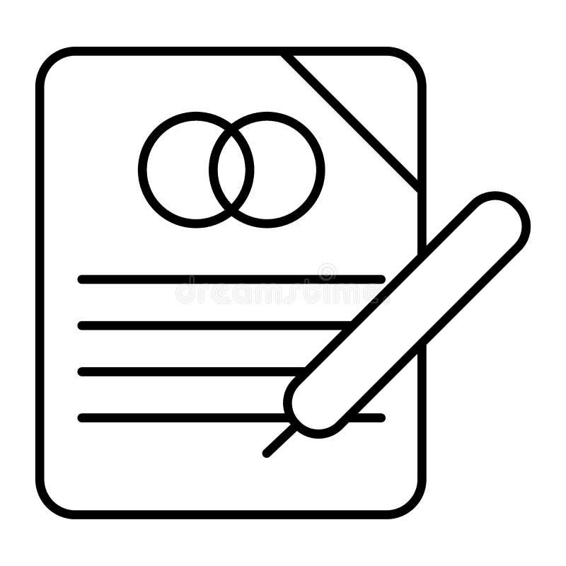 Casarse la línea fina icono del contrato Ejemplo del vector del contrato de matrimonio aislado en blanco Diseño del estilo del es ilustración del vector