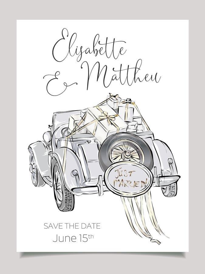 Casarse la plantilla de la tarjeta de la invitación con el ejemplo del vector del coche del cabriolé Boda blanco y negro del sist libre illustration
