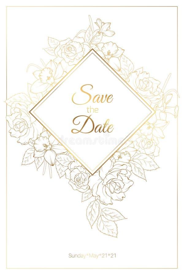 Casarse la plantilla de la tarjeta de la invitación con las flores del narciso del narciso de la peonía de las rosas Dibujo linea stock de ilustración