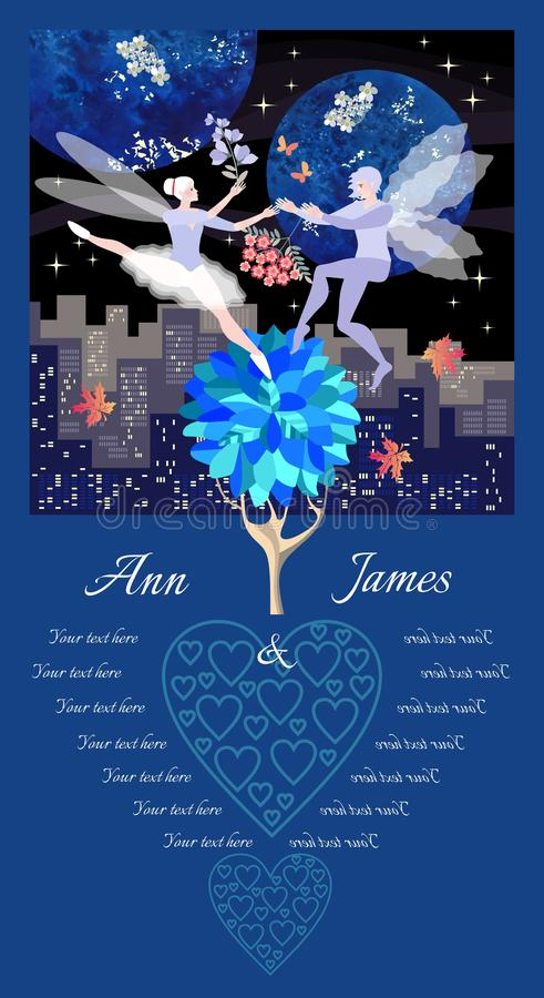 Casarse la plantilla de la tarjeta de la invitación con los duendes del baile Flores del paisaje de la ciudad de la noche, rojas  libre illustration